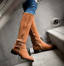 Load image into Gallery viewer, Winter Faux Suede Low Heeled Knee High Boots