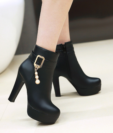Buckle Ankle Boots Women High Heels
