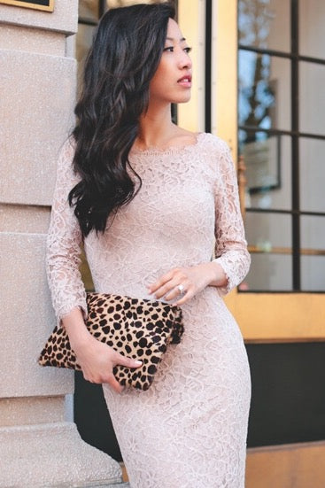 Zarita Lace Dress in Nude