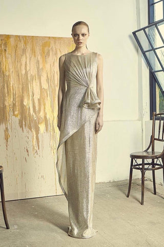 Chai Gold Draped Dress