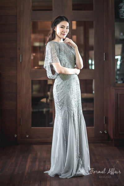 Adela Sequin Dress in Silver - The Formal Affair