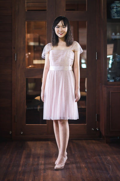 Short Bobbin Dress in Blush