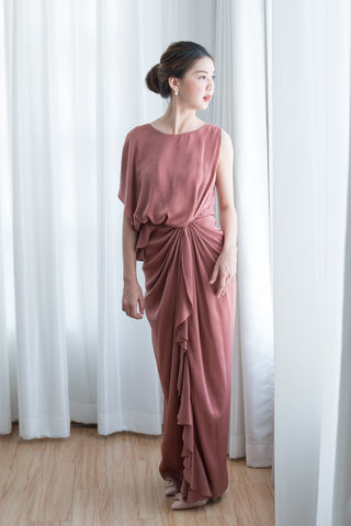 Chai Drape Dress in Warm Peach - The Formal Affair