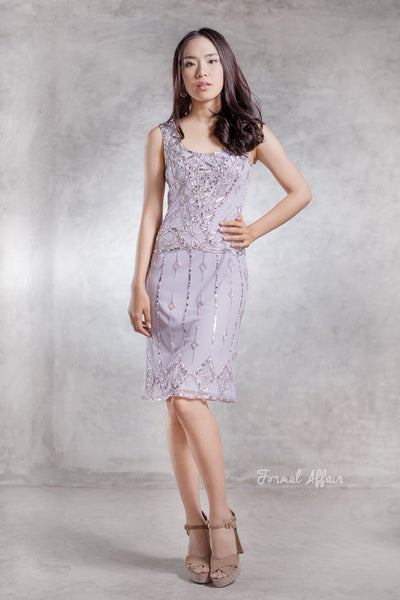Flapper Gatsby Dress in Lavender - The Formal Affair