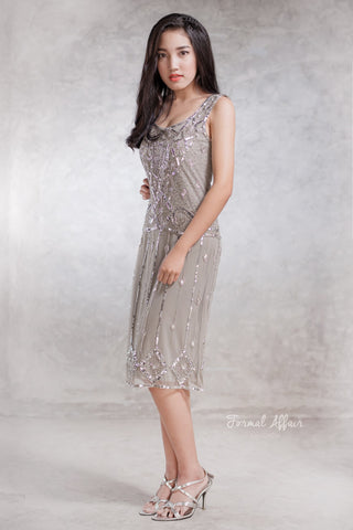 Flapper Gatsby Dress in Silver