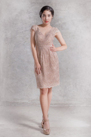 Brigitte Lace Dress in Beige - The Formal Affair