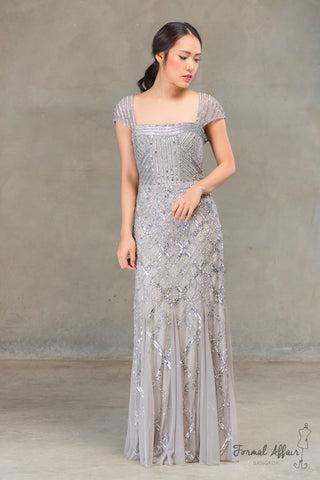 Catherine Dress in Silvery Grey
