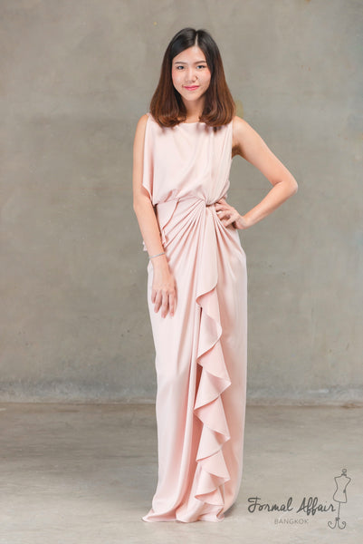 Chai Drape Dress in Pink - The Formal Affair