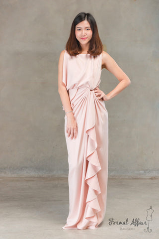 Chai Drape Dress in Pink