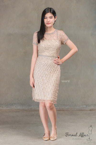 Short Sansa Dress in Gold - The Formal Affair