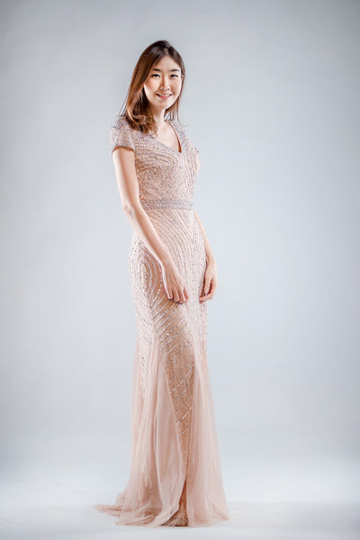 Tisha Lace Dress in Pink - The Formal Affair