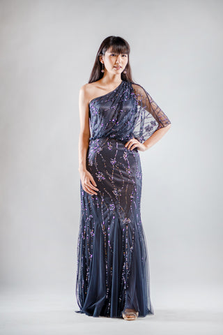 Lily Sequin Dress in Navy