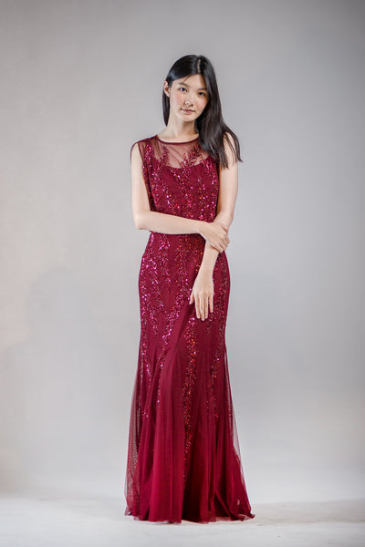 Adele Sequin Dress in Burgundy - The Formal Affair