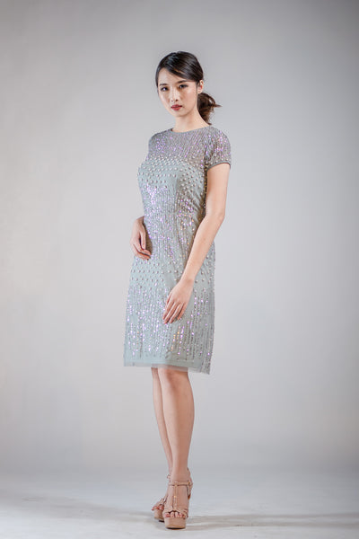 Short Natasha Dress in Misty Blue - The Formal Affair