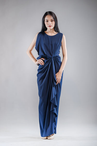Chai Drape Dress in Navy