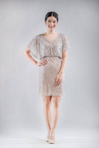 Short Adela Dress in Beige
