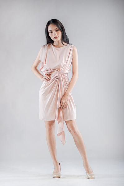 Short Chai Drape Dress in Pink