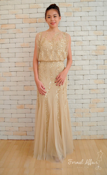 Adele Sequin Dress in Gold - The Formal Affair