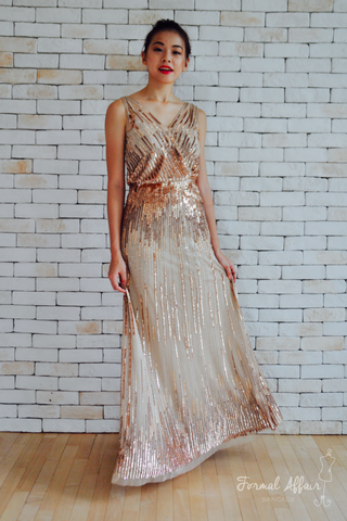Diane Dress in Rose Gold - The Formal Affair