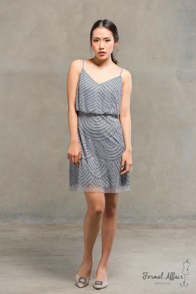 Short Gilly Dress in Grey - The Formal Affair