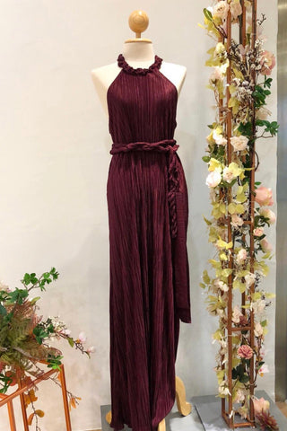Halter Pleats in Burgundy