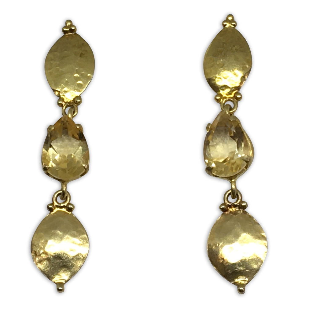 Gold citrine pear and marquise gold earrings