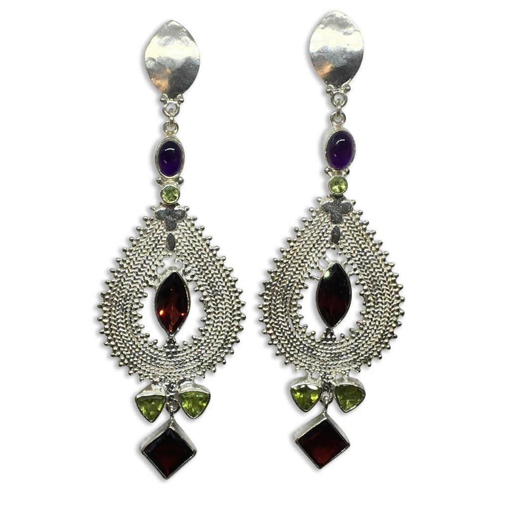 Garnet, peridot, amethyst silver earrings