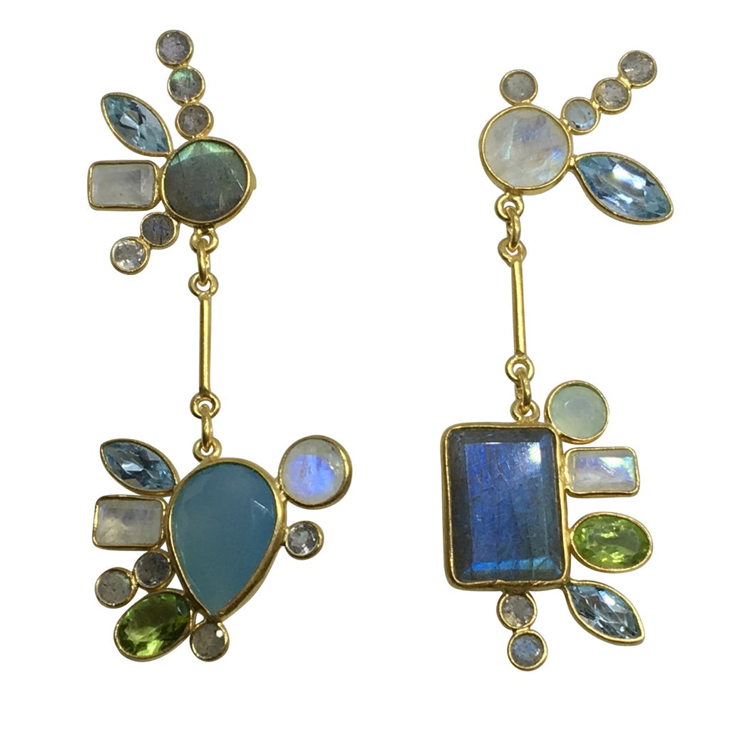 """Something blue"" mismatched gem earrings"