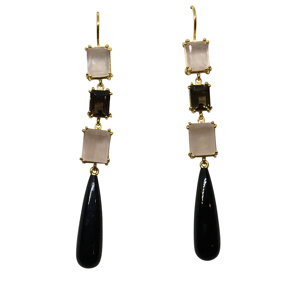 Black onyx, smoky and rose quartz earrings