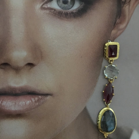 Mismatched four stone earrings