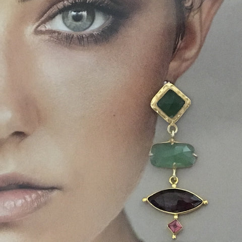Garnet and serpentine mismatched earrings