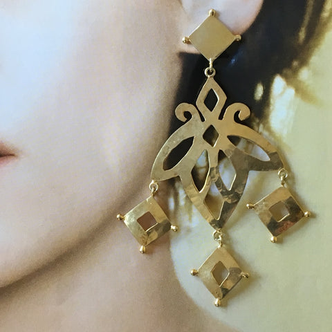 Corfu hammered cutout gold earrings