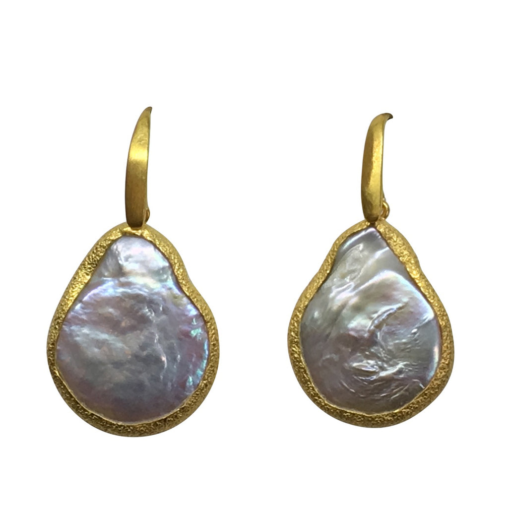 Pearl baroque pear gold earrings
