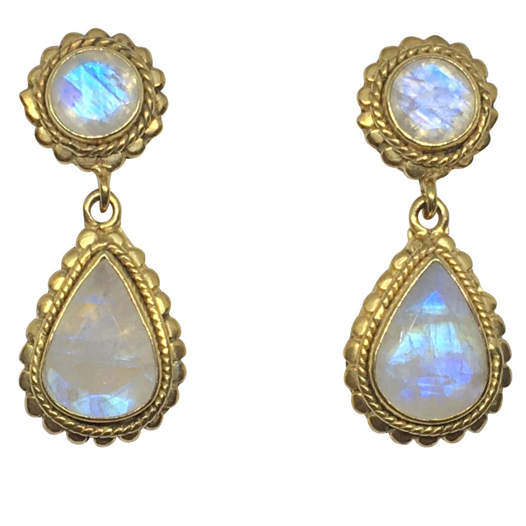 Rainbow moonstone scalloped border earrings