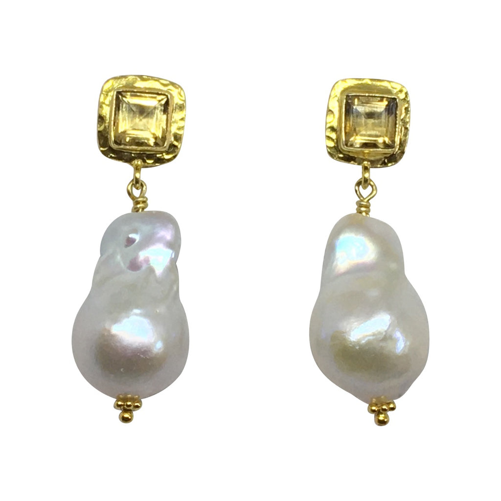 Baroque pearl and citrine earrings