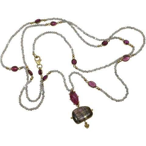 Garnet, labradorite and tourmaline pendant necklace