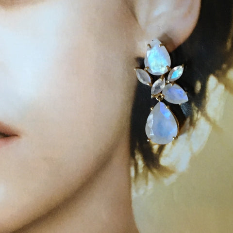 Moonstone pear and marquise earrings