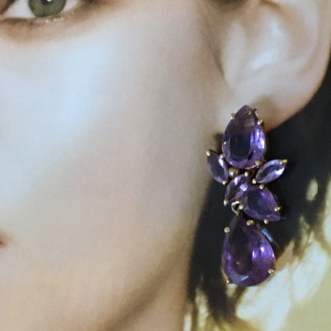 Amethyst pear and marquise earrings