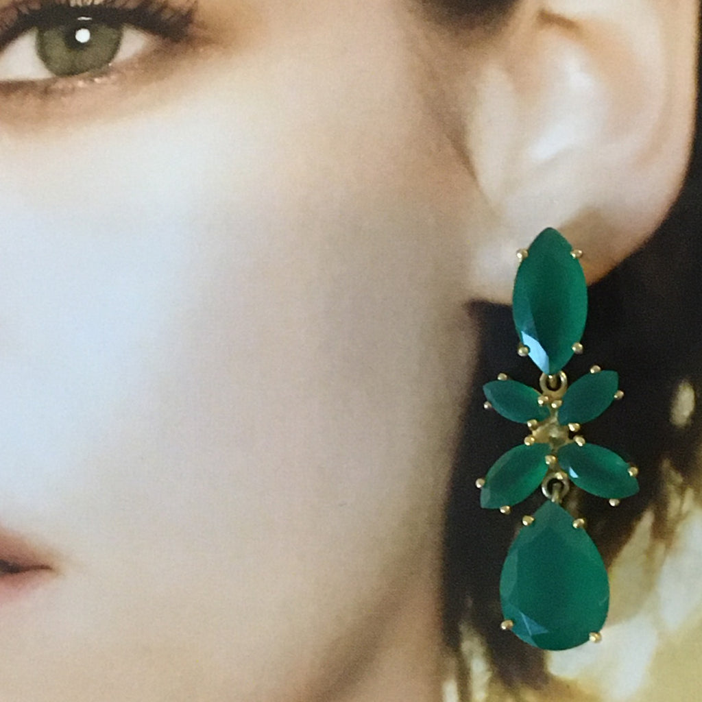 Green onyx six stone earrings