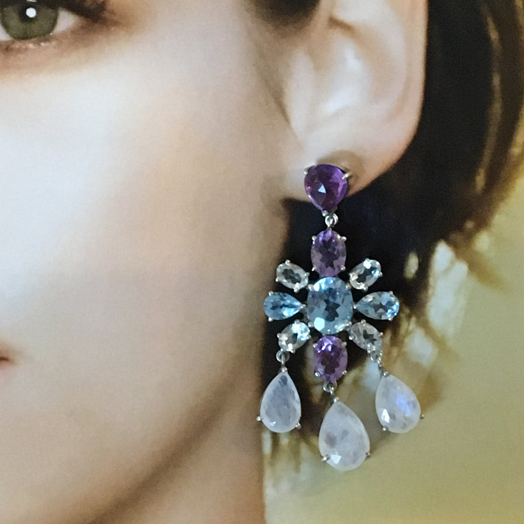 Amethyst, blue topaz and moonstone earrings
