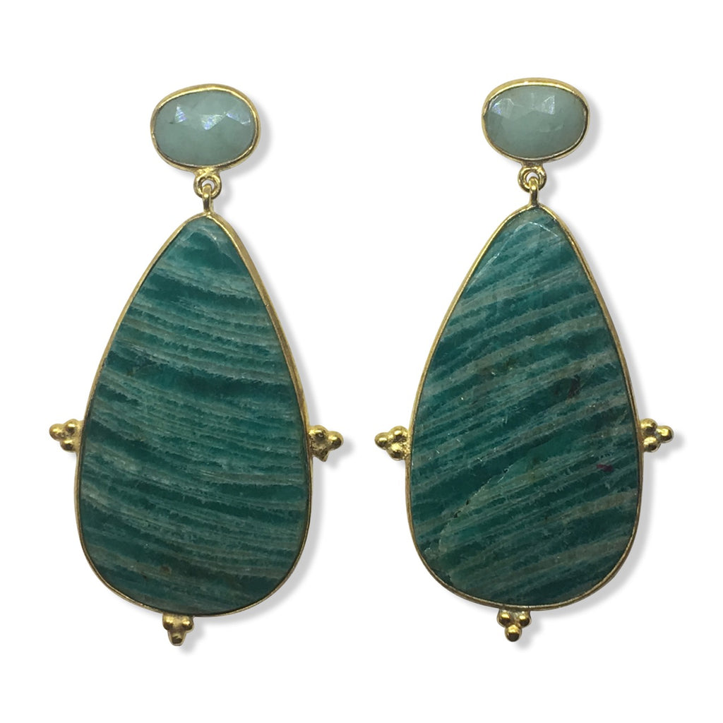 Amazonite and emerald earrings