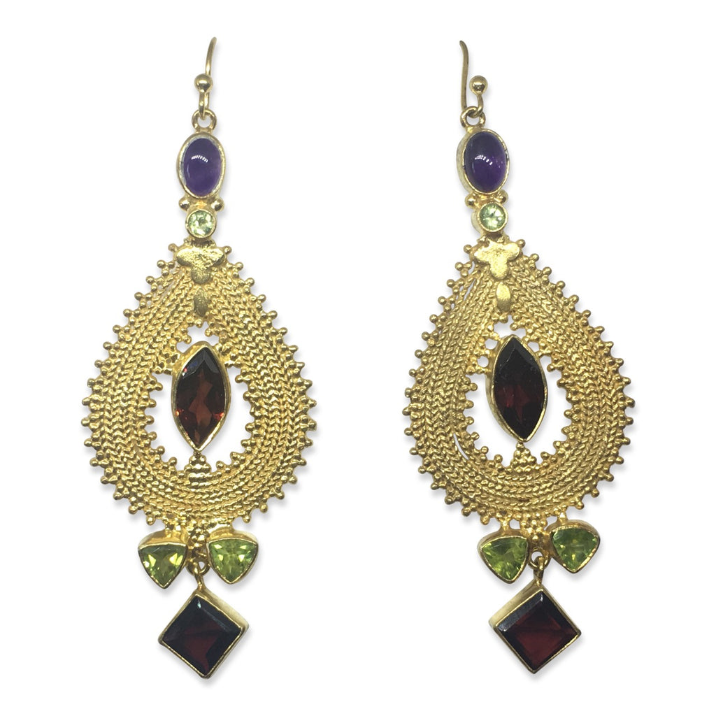 Pear multi gem gold earrings