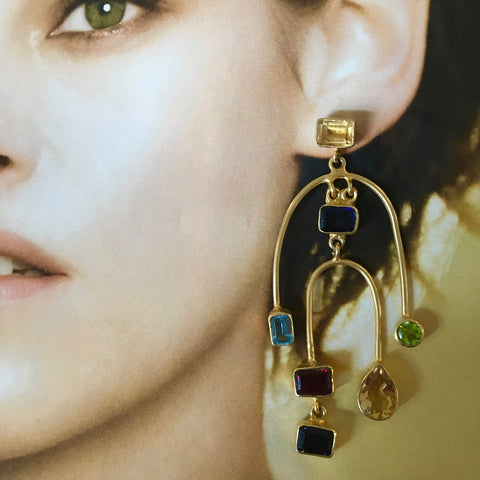 Multi gem and shape earrings