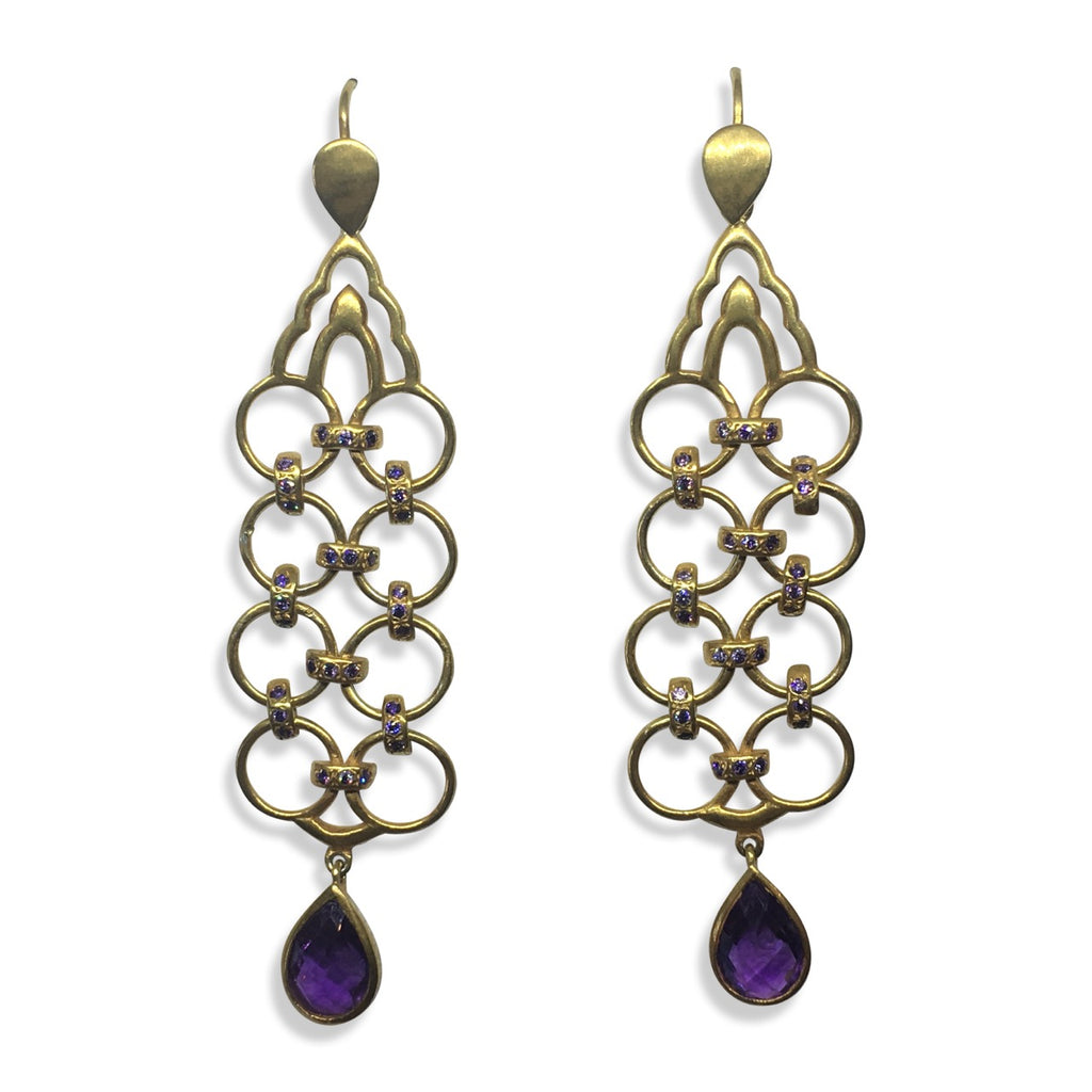 Amethyst drop linked earrings