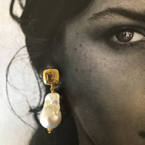Baroque pearl and garnet earrings