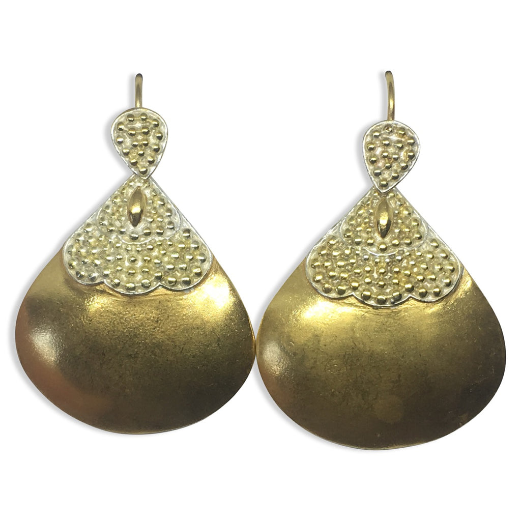 Gold silver accent granulated earrings