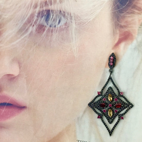 Black spinel, citrine, garnet earrings