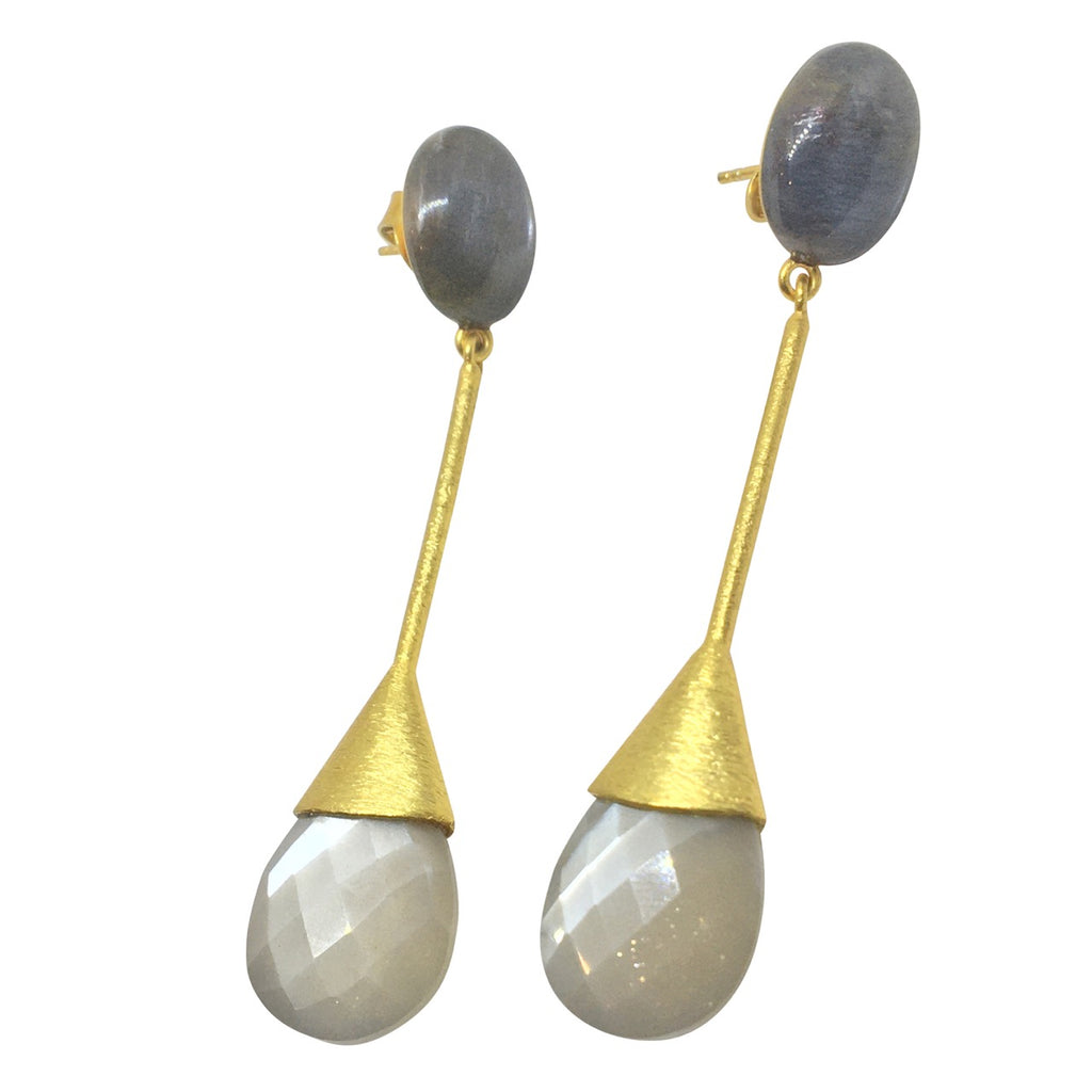 Moonstone pear and oval earrings