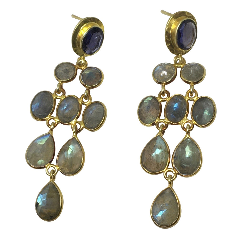 Iolite and labradorite gold earrings