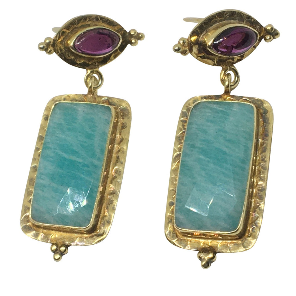 Amazonite and garnet gold earrings